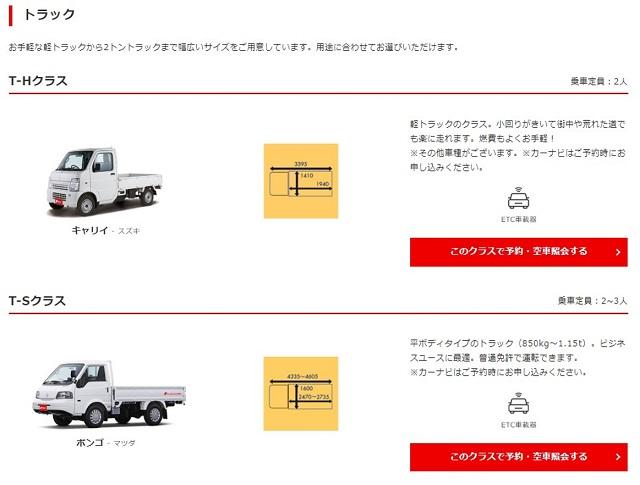 ニッポンレンタカー車両画面